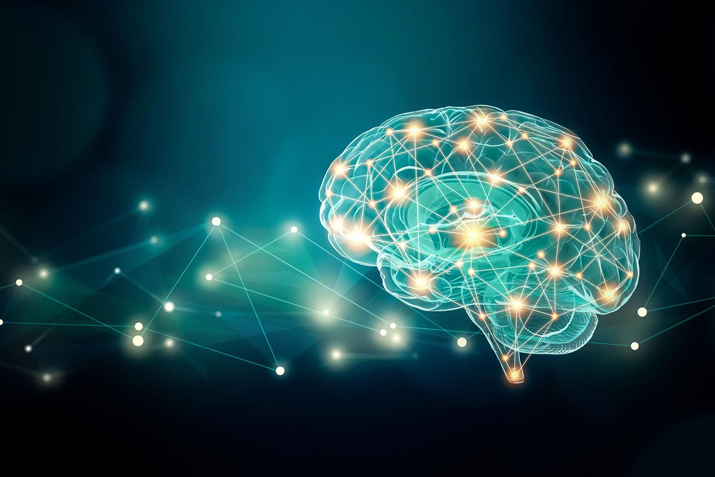 Gehirn mit Lichtfunken